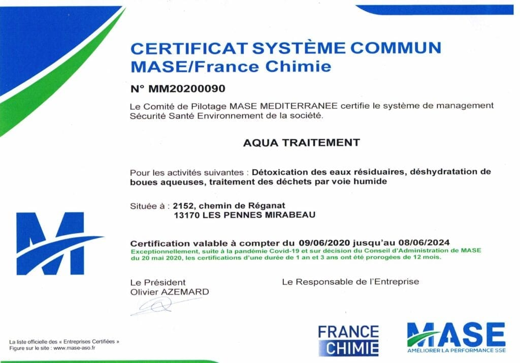 Aqua Traitements Saint Victoret Certification MASE